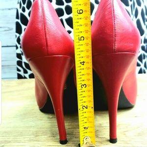 "MICHAEL Michael Kors Shoes - MICHAEL Kors 4.5"" Red Leather Peep Toe Heels"